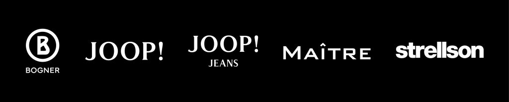 schwarzes banner mit markenlogos, bogner, joop, joop jeans, maitre, strellson